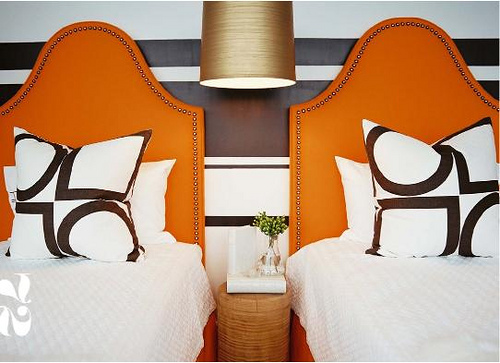 orange brown bedroom - lonny