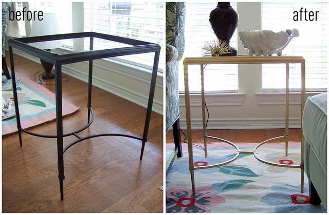 before after gold table