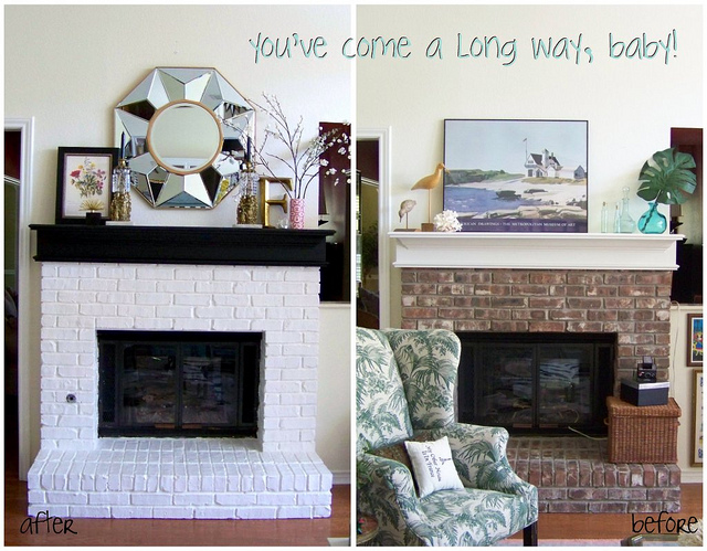 fireplace makeover b&a