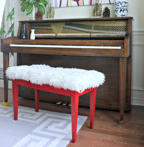 Sheepskin Piano Bench