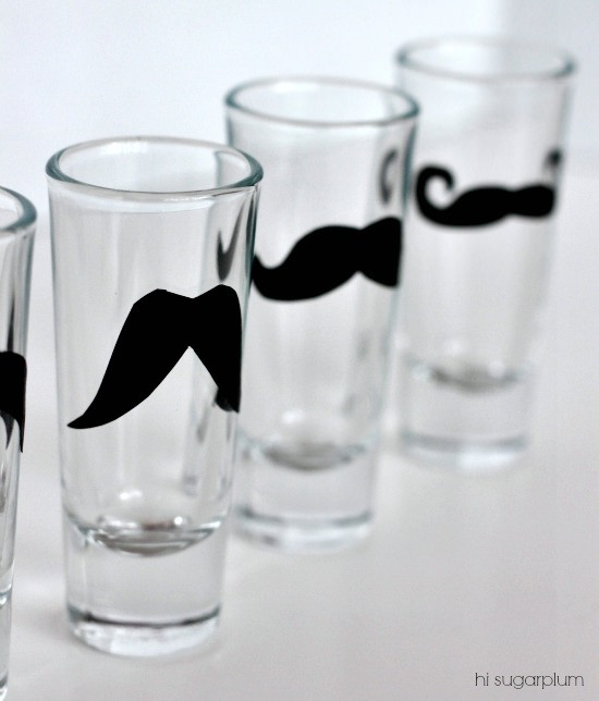 Hi Sugarplum | DIY Mustache Shot Glasses