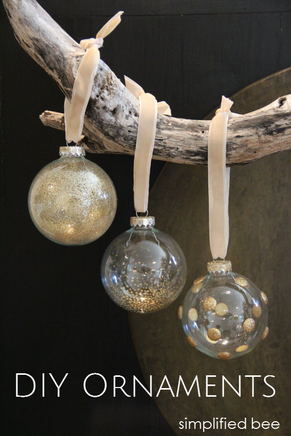 DIY gold+glitter glass ornaments - simplified bee