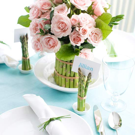 Flower Centerpiece with Asparagus