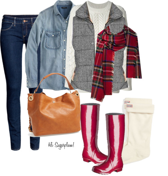 Fall Layers with Rain Boots
