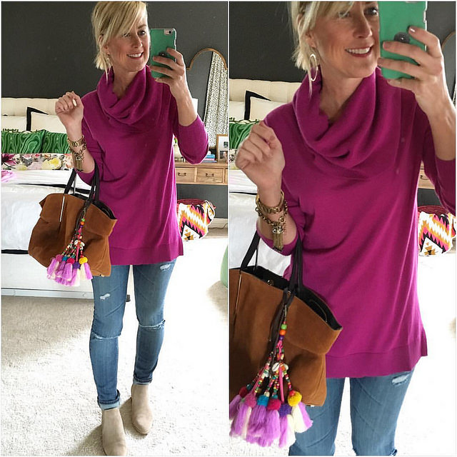 For the first time in a week, my outfit doesn't include elastic...felt like it needed documenting. Next hurdle: washing my hair 🙆 (Sidenote: my tunic is 40% off in some colors & long enough for leggings. Runs big, FYI) #sugarplumstyle @liketoknow