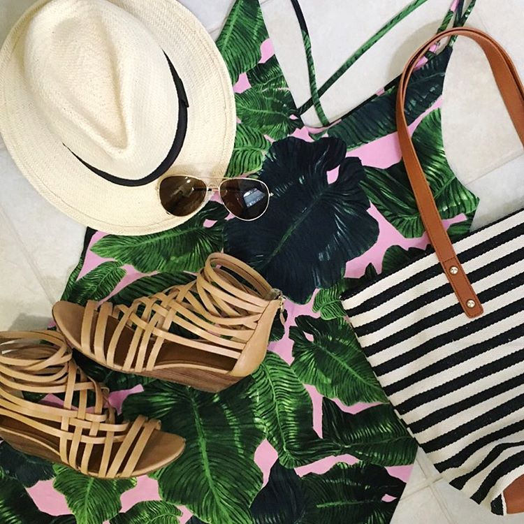 Finally packing...got one outfit done! ✈️🚢 #sugarplumstyle // Find this pink & green palm print dress here 👉http://liketk.it/2osJs👈 @liketoknow.it #liketkit