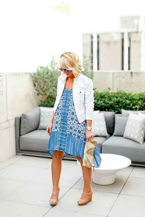 blue handkerchief dress white jean jacket outfit