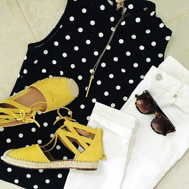 Fancy Feet 💛 Espadrilles usually feel like walking on cardboard to me, but these are actually padded & a little springy! And my polka dot top (with a cute mock-neck & exposed zipper!) is now 40% off! So there you go. #asyouwere #sugarplumstyl