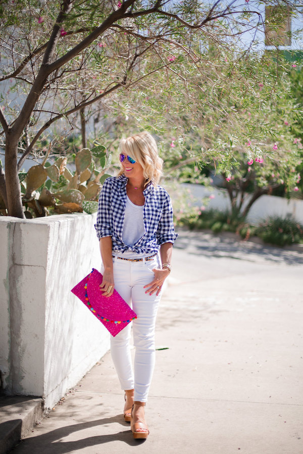 gingham shirt trend outfit idea white jeans for spring and summer