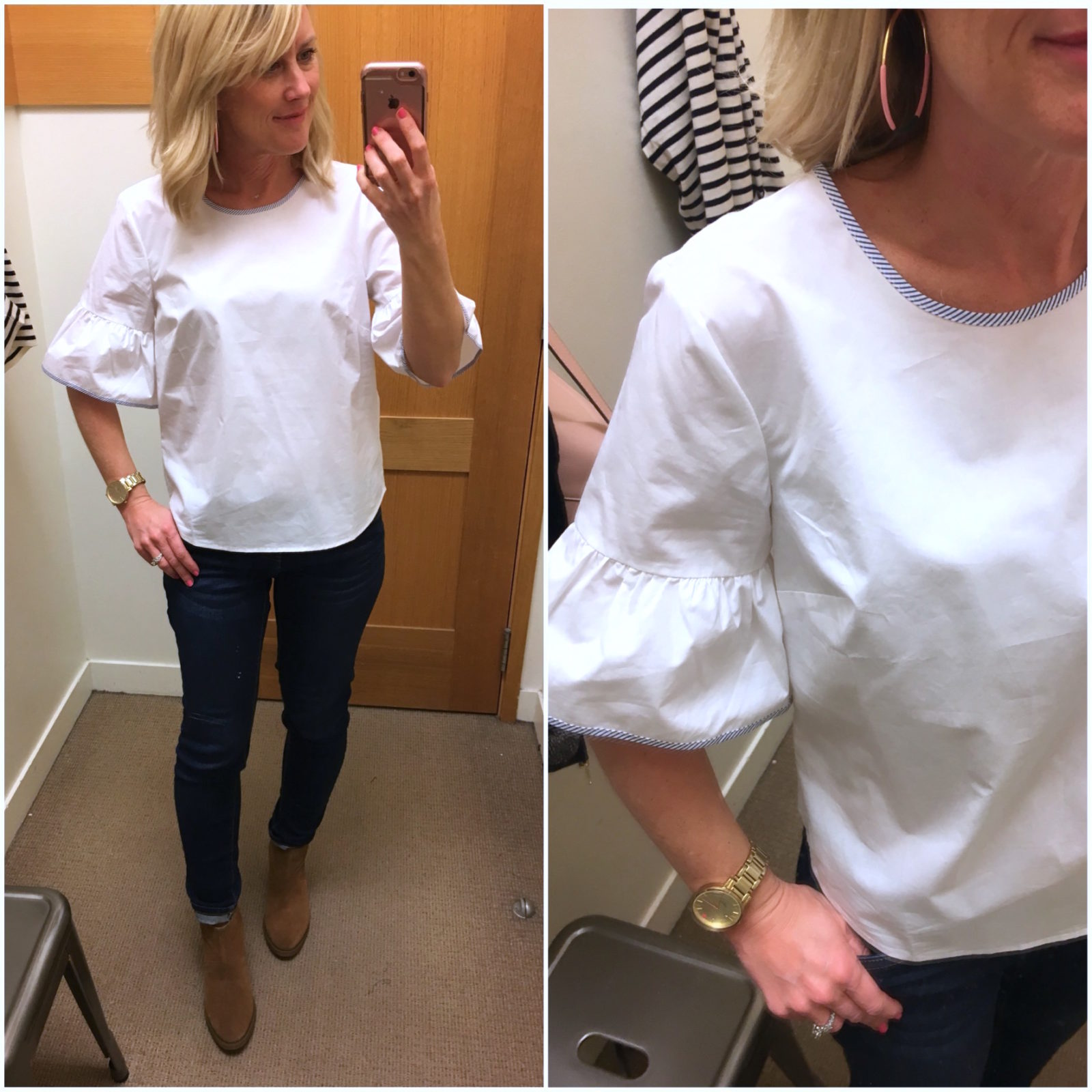 81fc25549eded2 Bell Sleeve Top (also here) | Dark Jeans | Boots