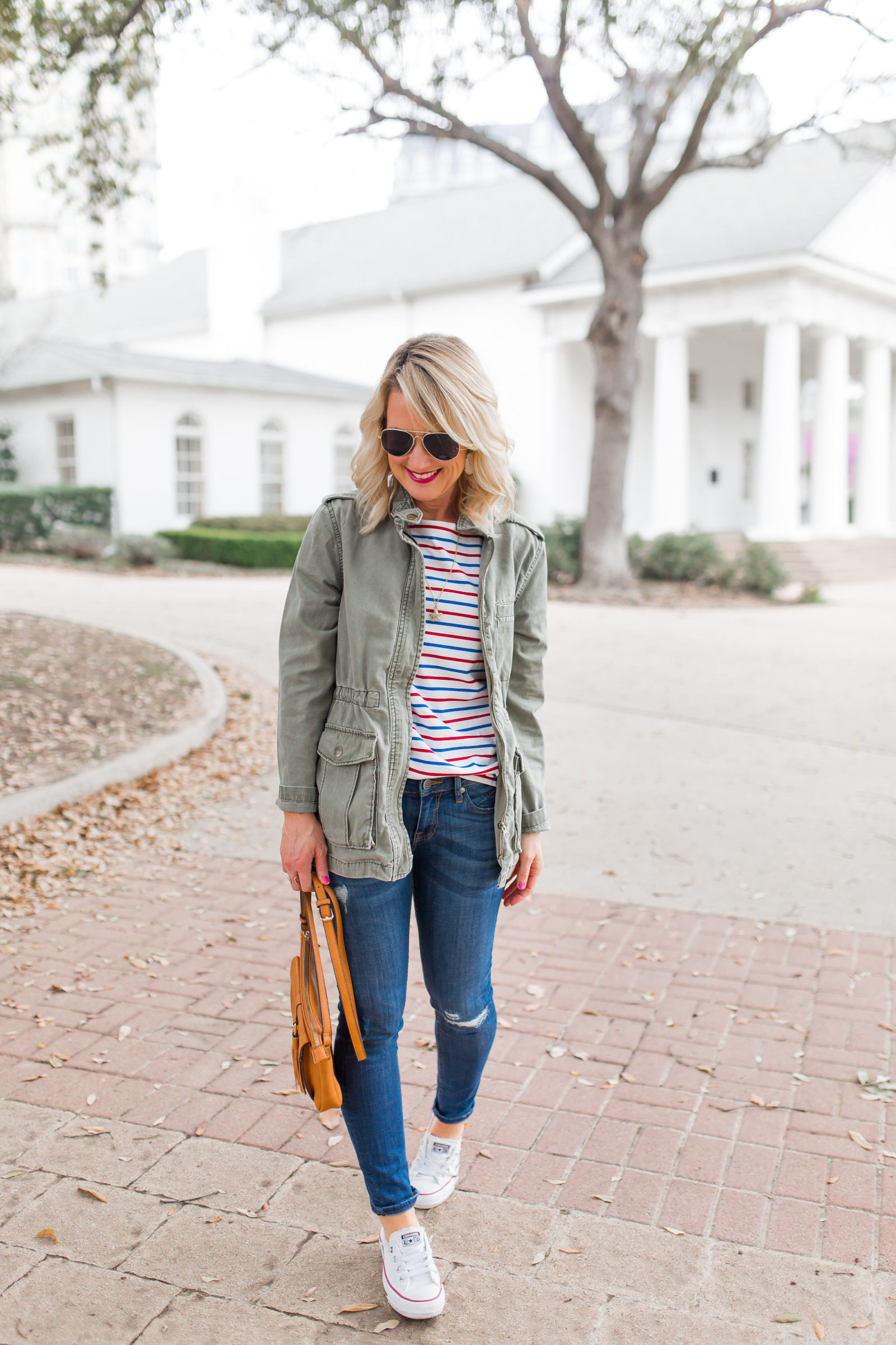 red white and blue striped shirt military jacket outfit