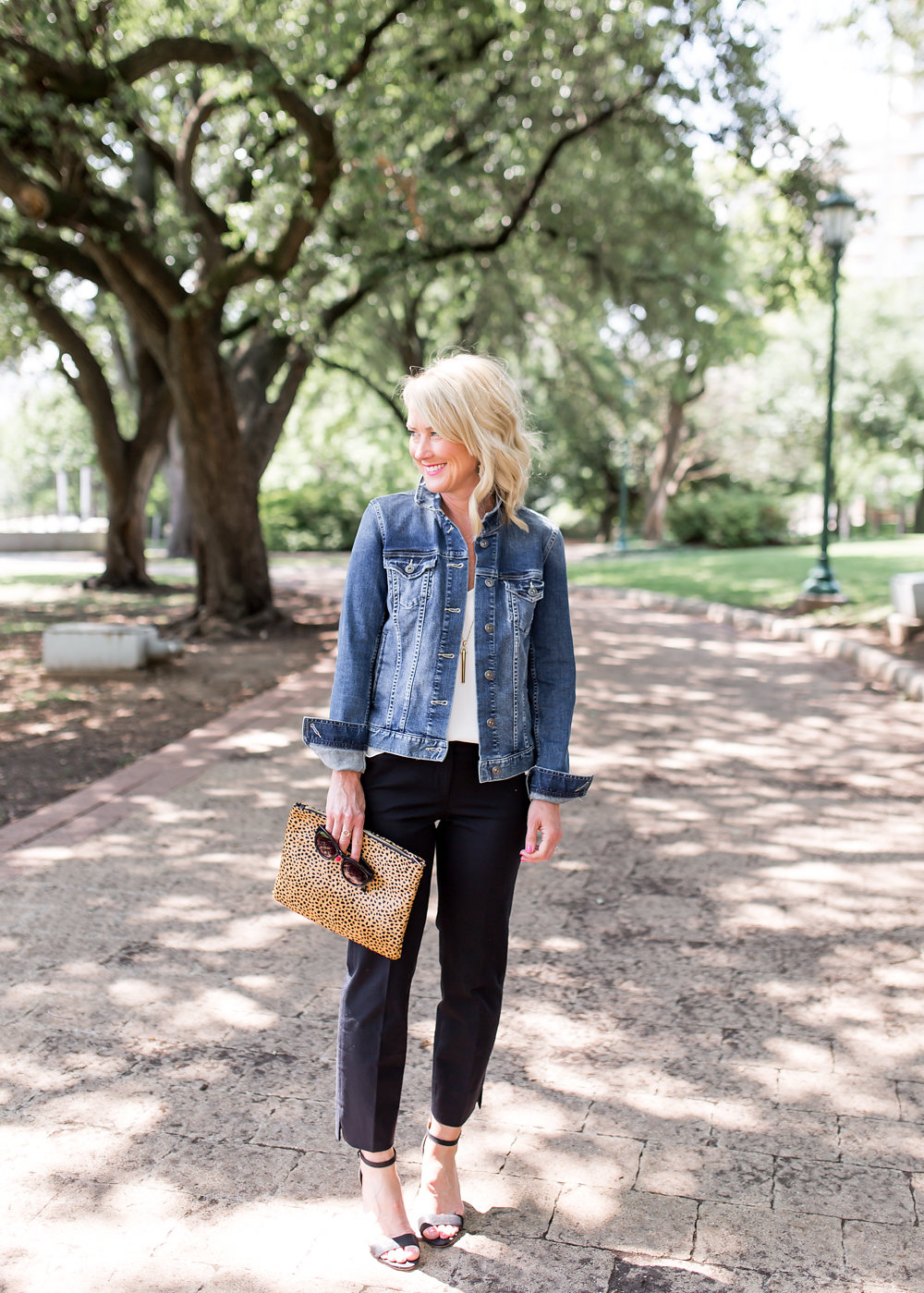 spring outfit idea denim jean jacket