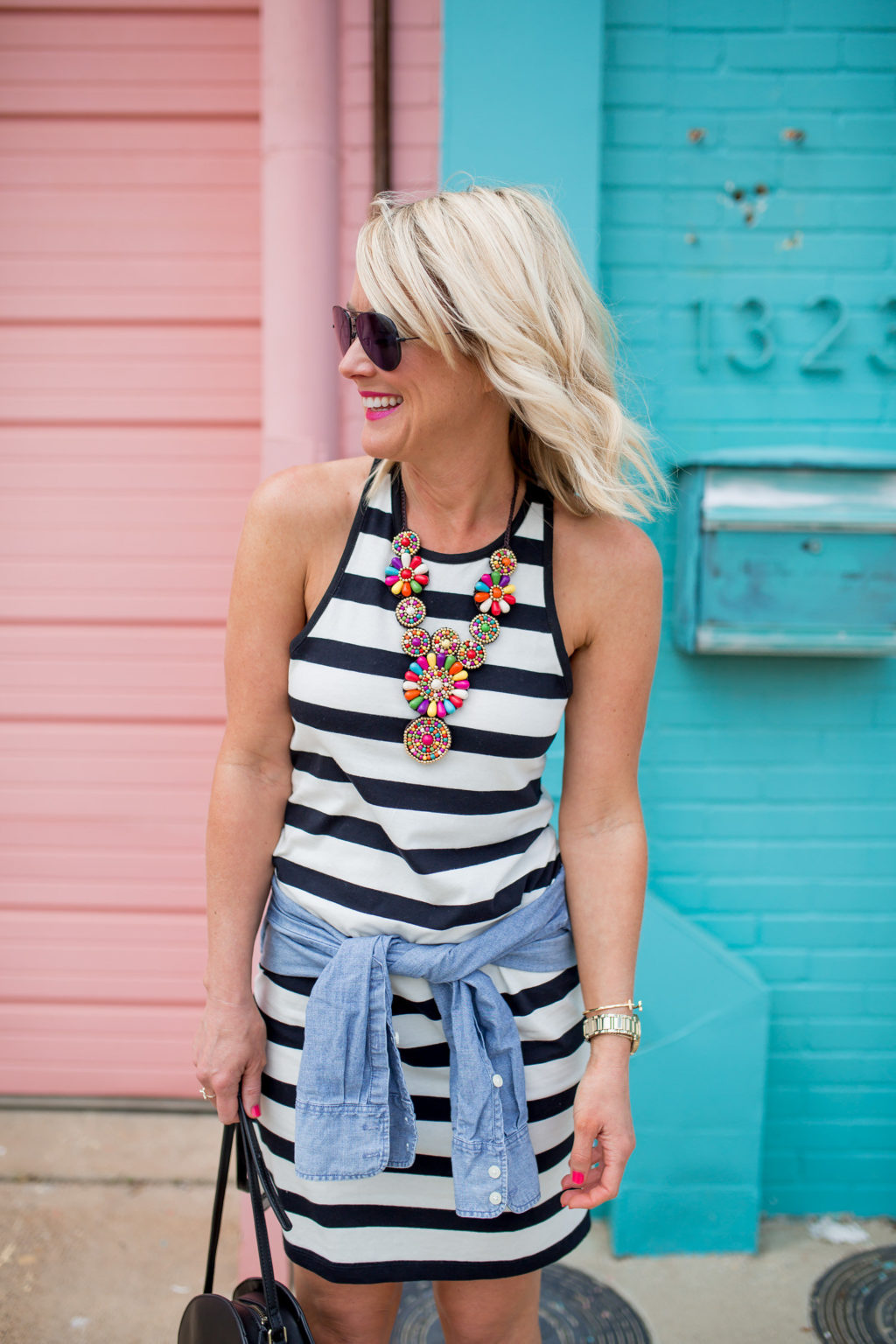 striped racerback dress summer outfit with statement necklace