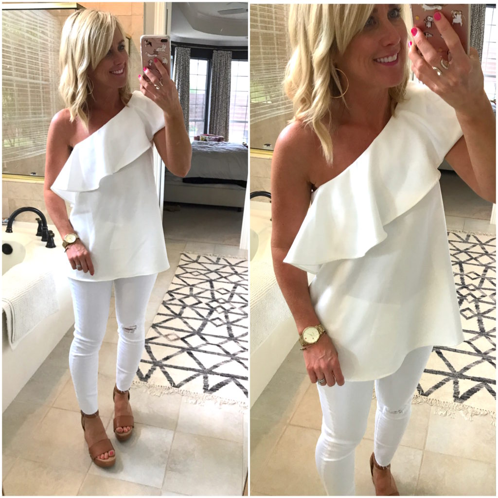 one shoulder ruffle blouse