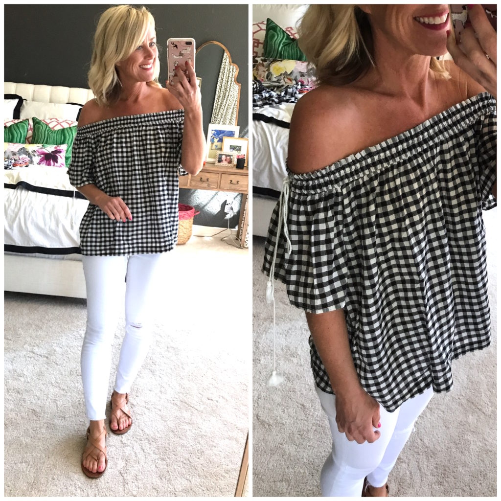 loft off the shoulder gingham top