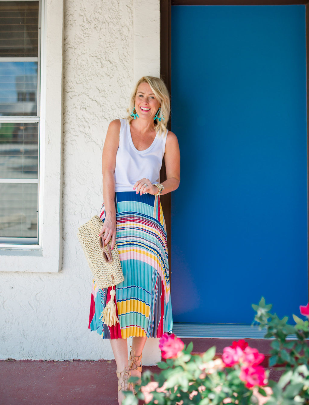loft colorful pleated statement midi skirt with classic white tank