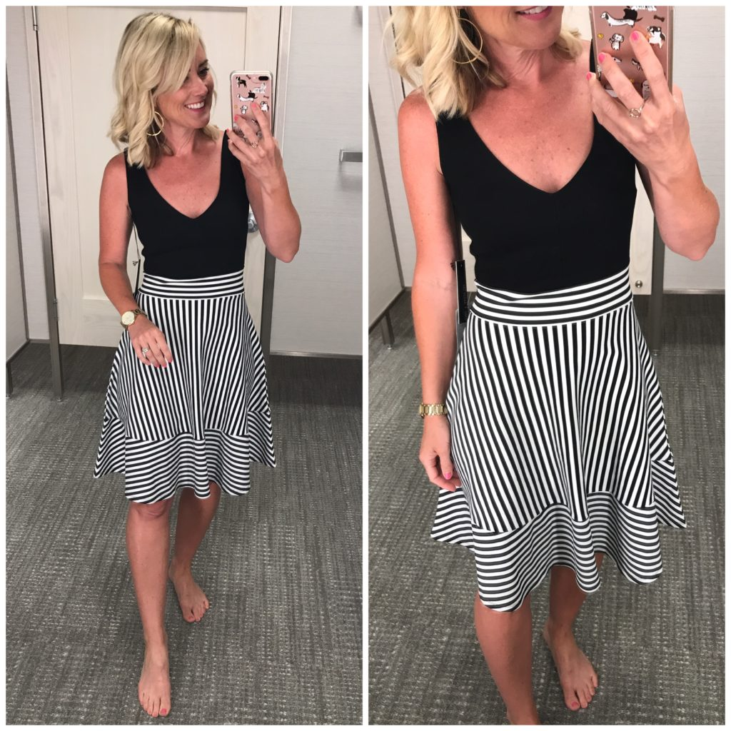 nordstrom striped fit and flare dress