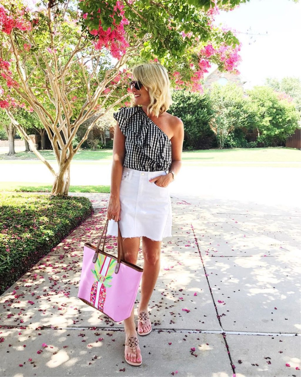 gingham off the shoulder top jean skirt outfit