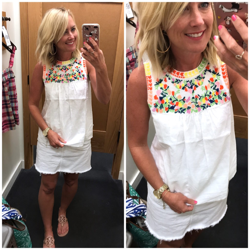 jcrew factory embroidered tank