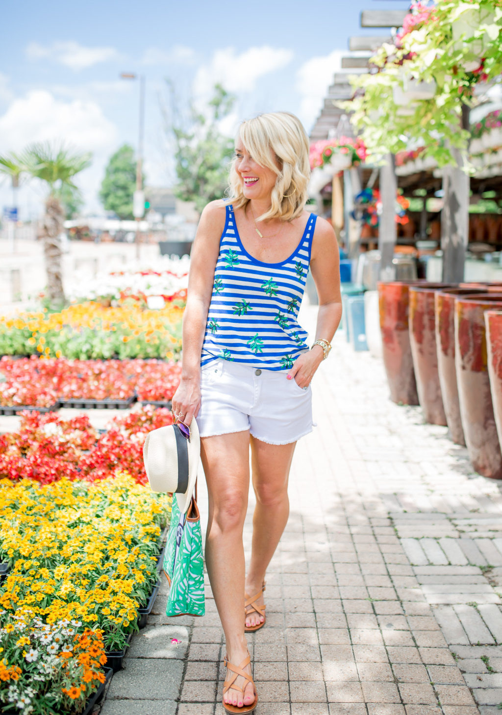 jcrew blue and white striped palm tree tank with white jean shorts