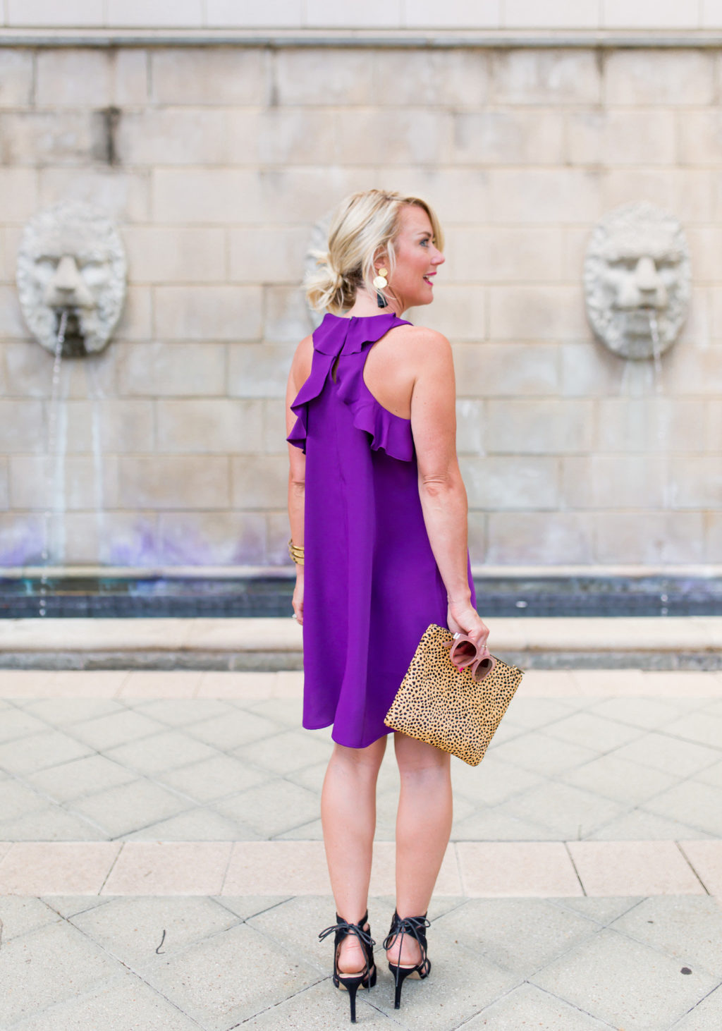 LOFT racerback purple ruffle dress for summer date night