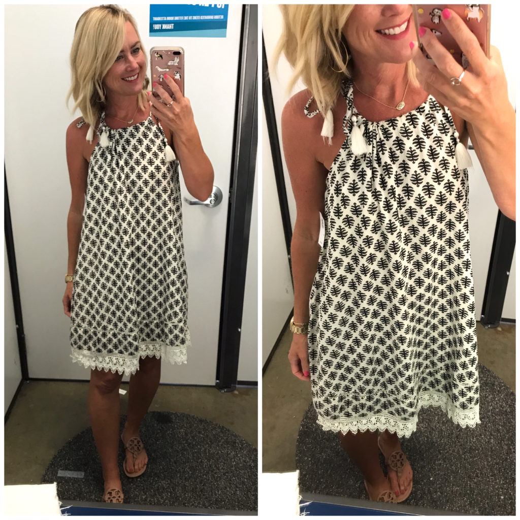 old navy embroidered trim dress
