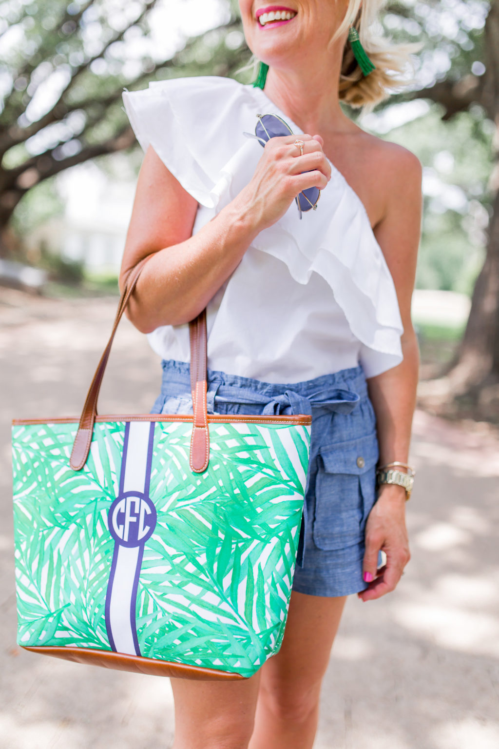 barrington palm print monogram tote