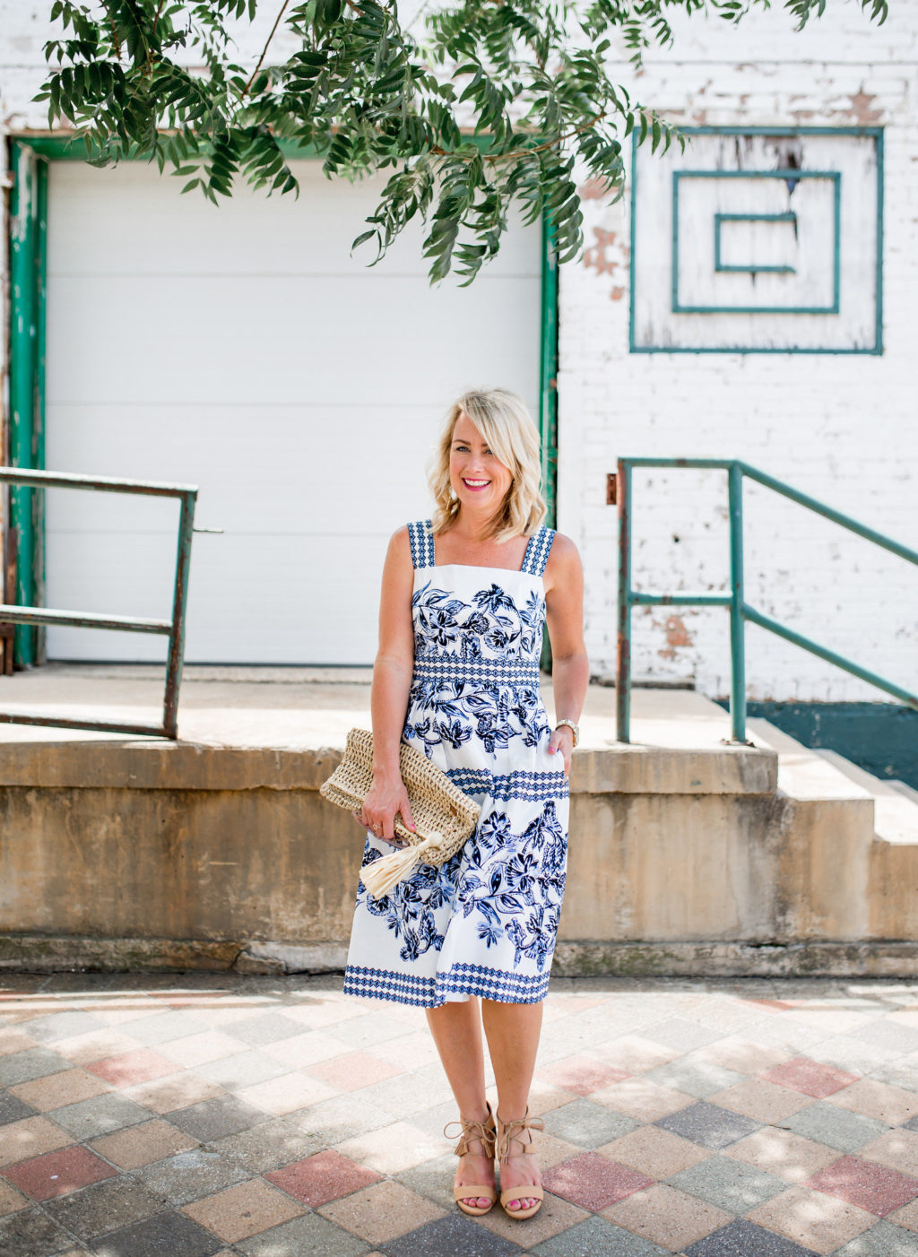 blue and white vince camuto dress