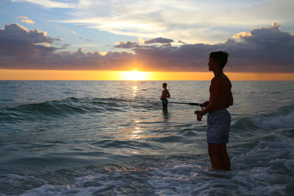 sunset fishing on anna maria beach