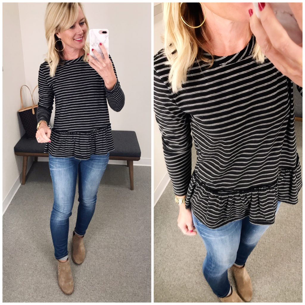 striped peplum tee