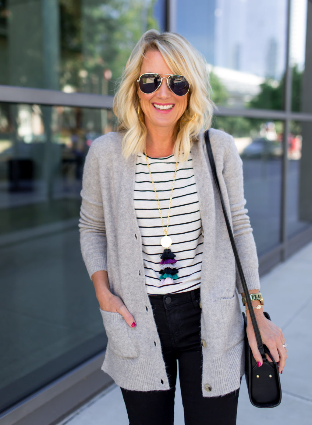 stripes and tassel fall fashion