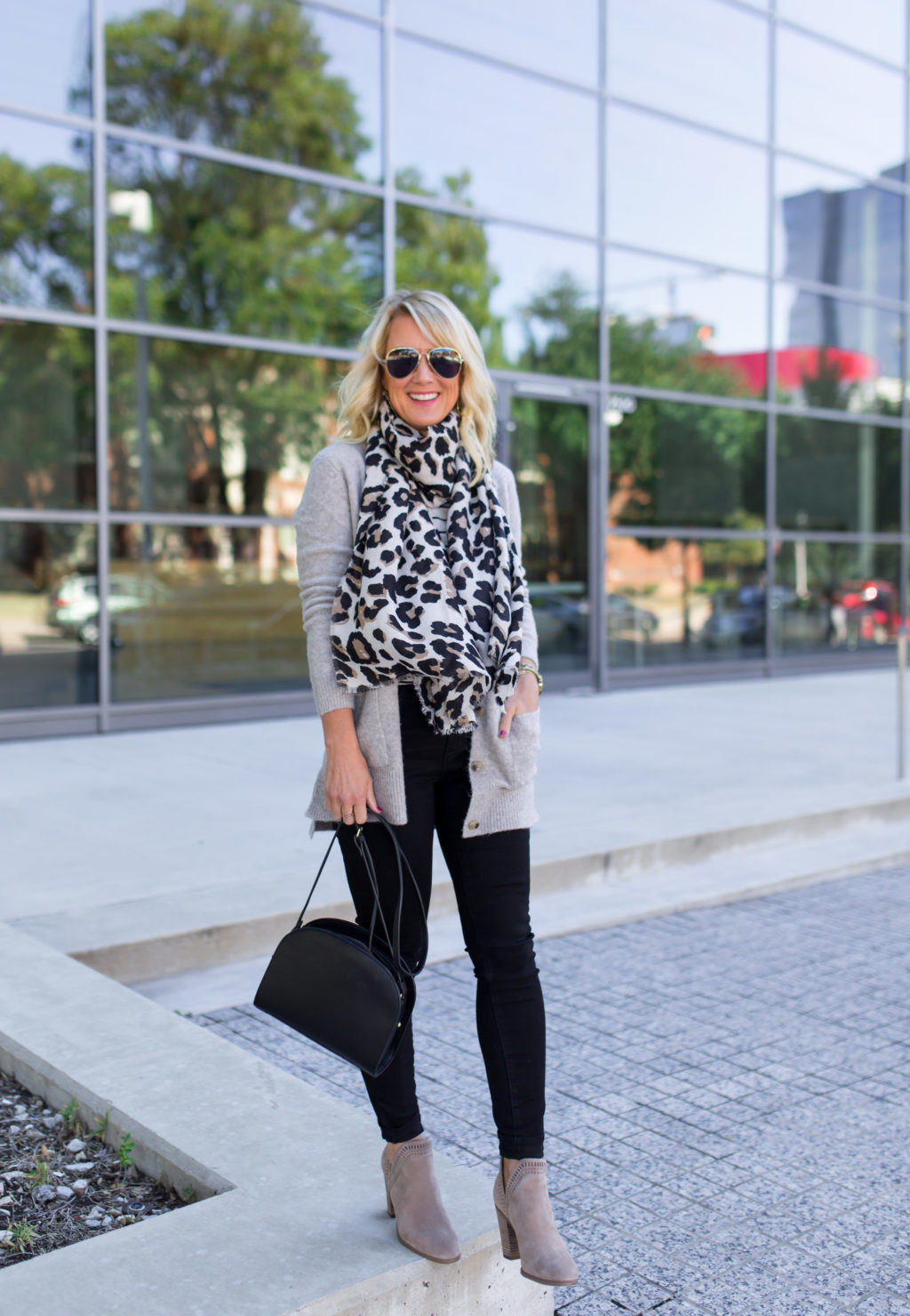 black jeans and leopard scarf