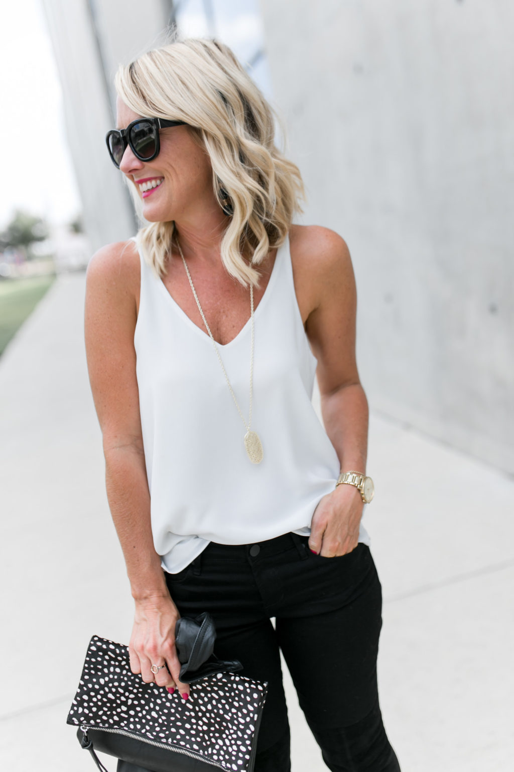 black jeans and white cami