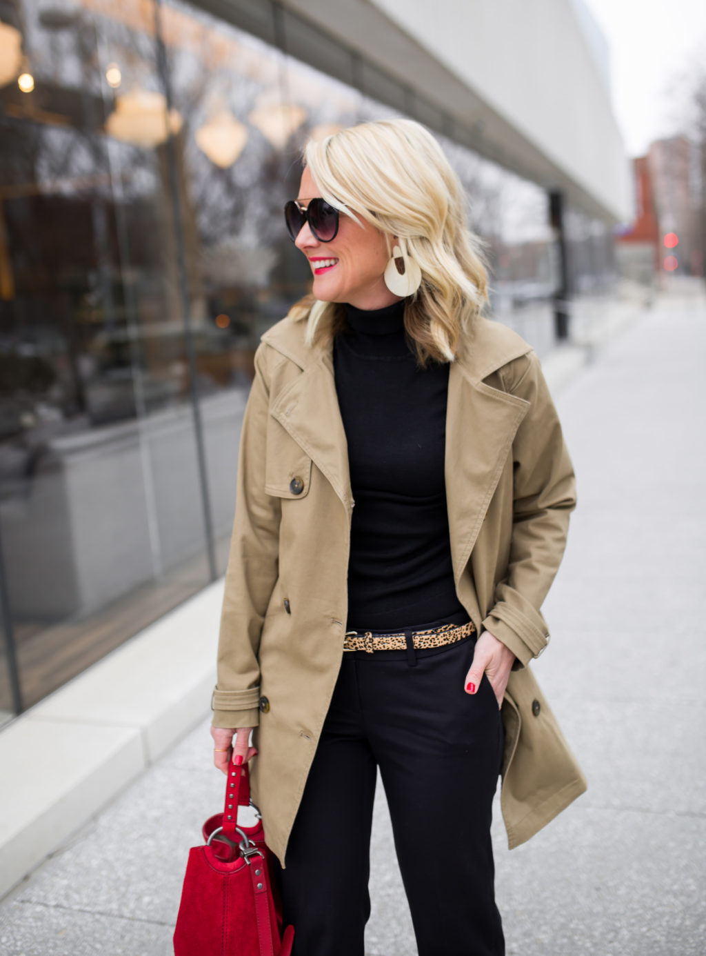 hi sugarplum trench coat spring outfit