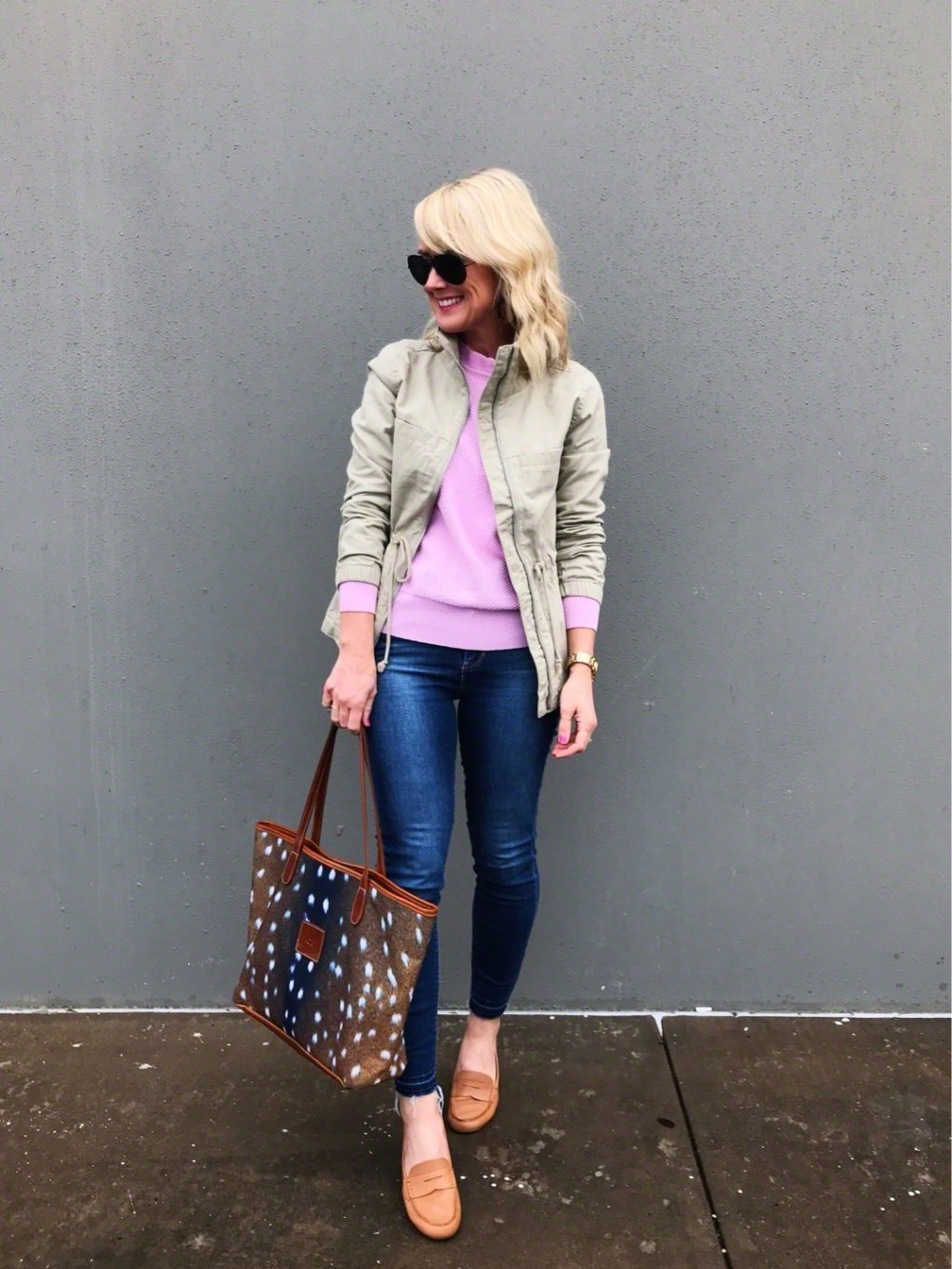 utility jacket and pink outfit