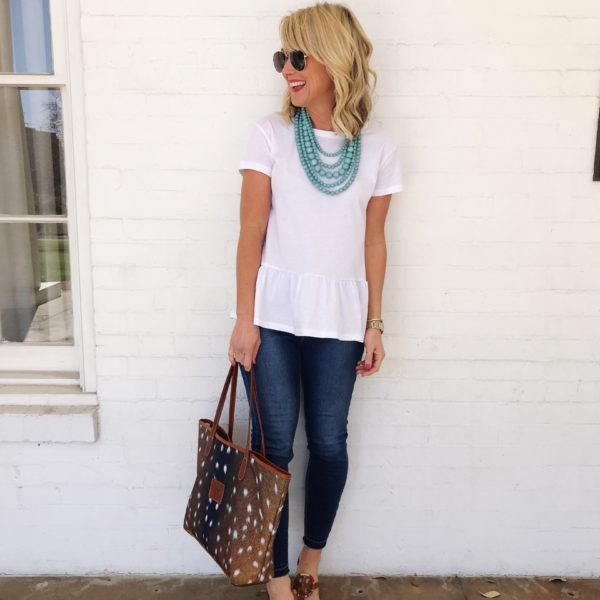 peplum tee spring outfit