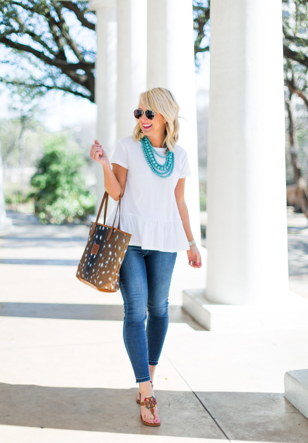 nordstrom peplum tee spring outfit