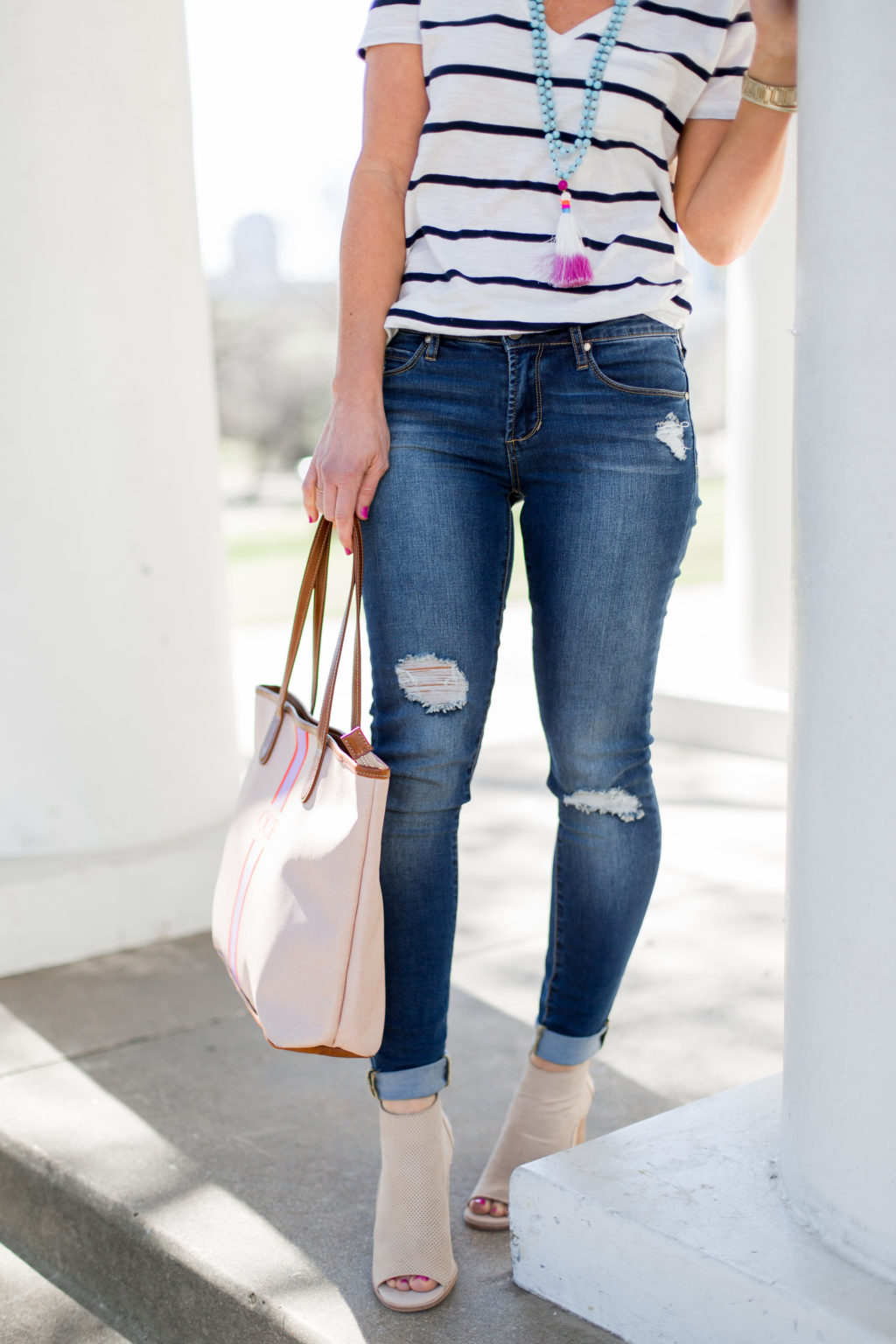 stripe tee blush jacket spring outfit