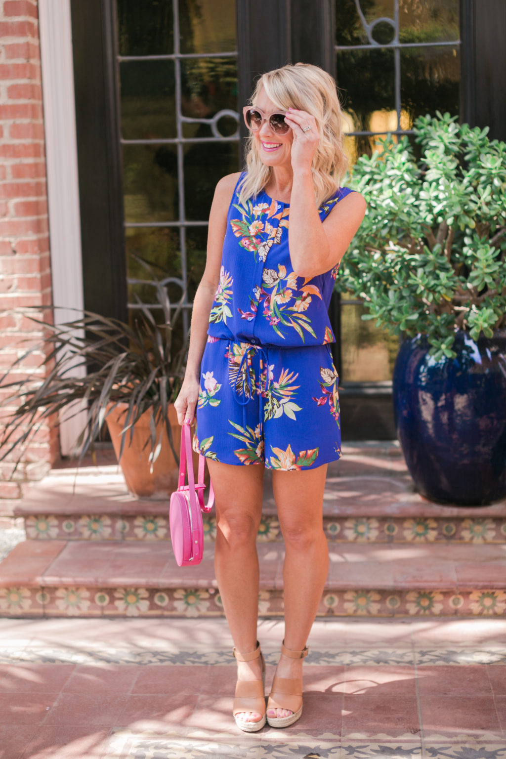 gibson hi sugarplum nordstrom collection captiva tie waist romper in bright floral