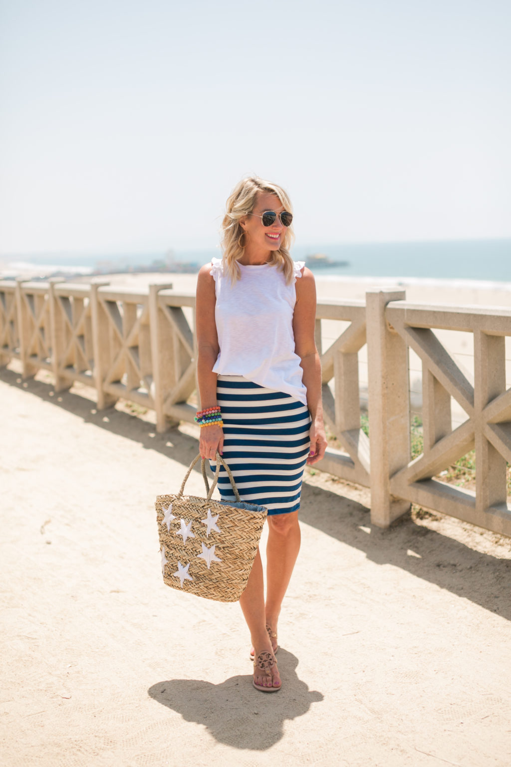 gibson hi sugarplum collection nordstrom bonita racerback ruffle tee in white and fornillo midi skirt in blue stripe