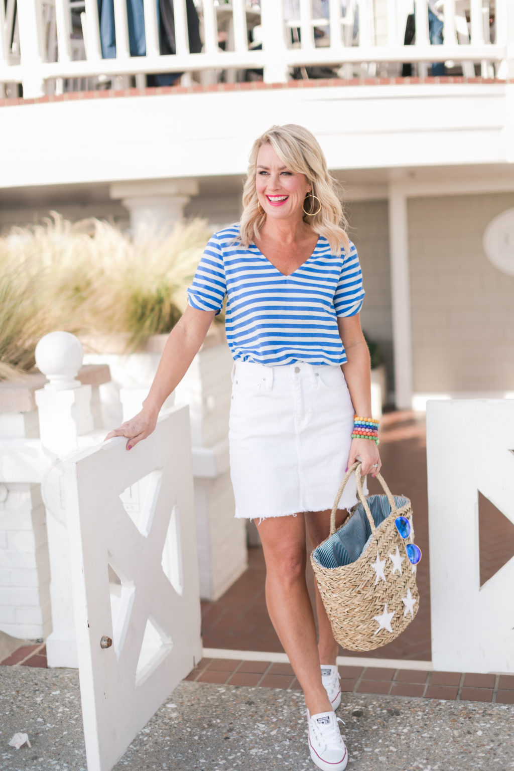 gibson hi sugarplum collection nordstrom anna maria short sleeve detail v neck tee royal ocean stripe