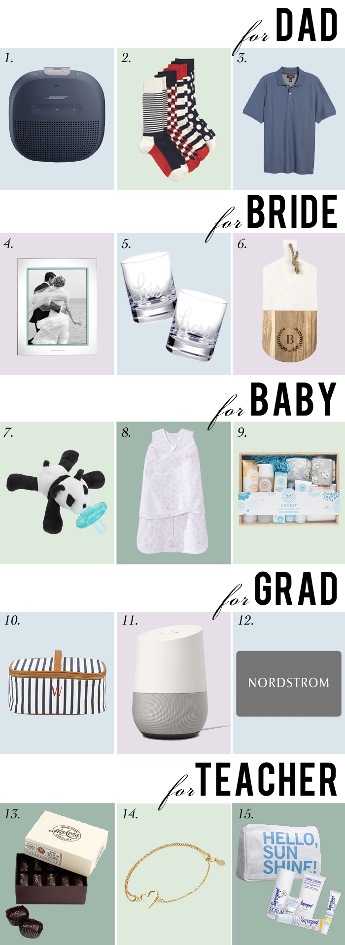 gift guide grads dad baby showers