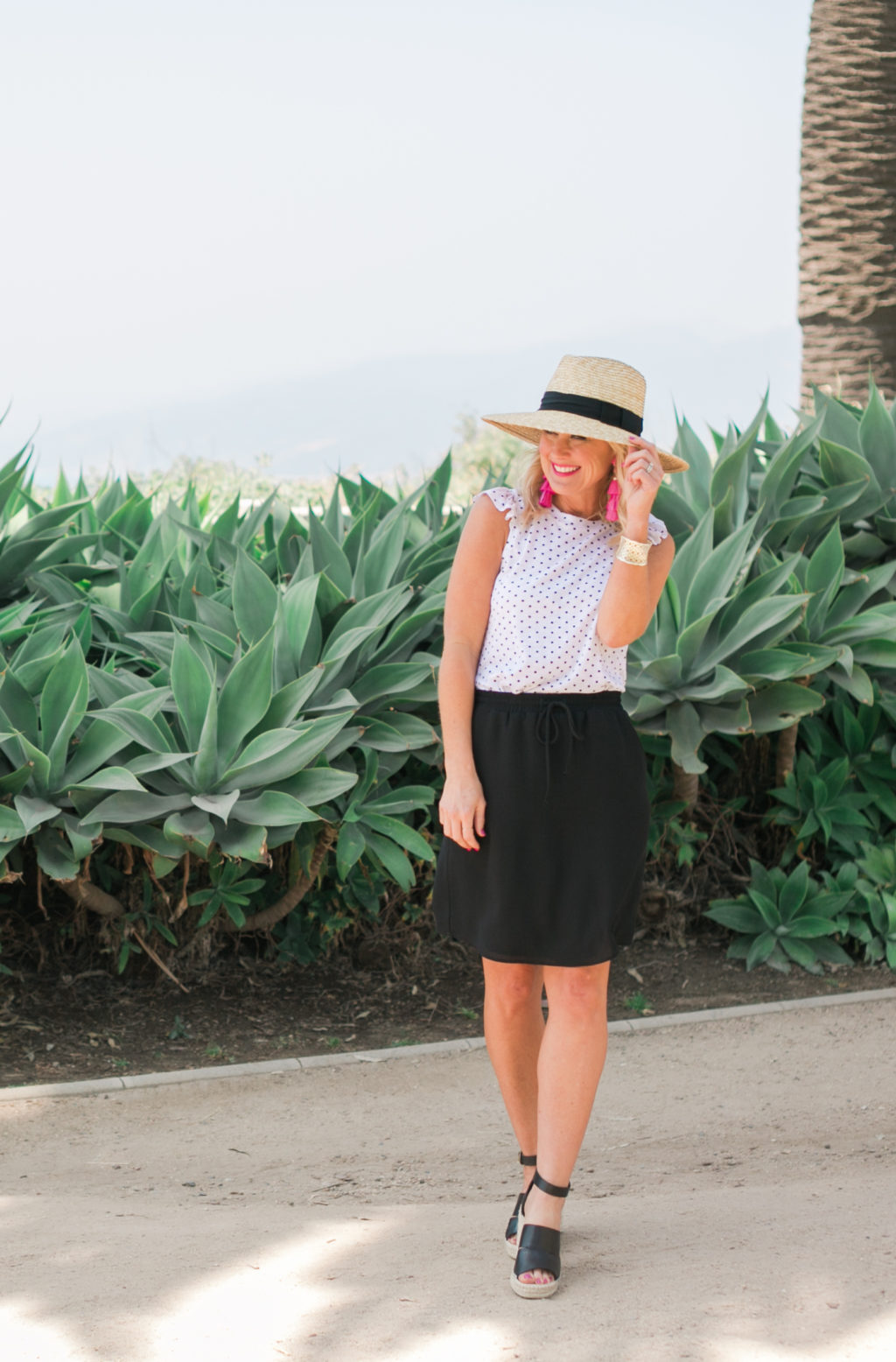 gibson hi sugarplum collection nordstrom bonita ruffle racerback tank and monterey pull on easy skirt in black