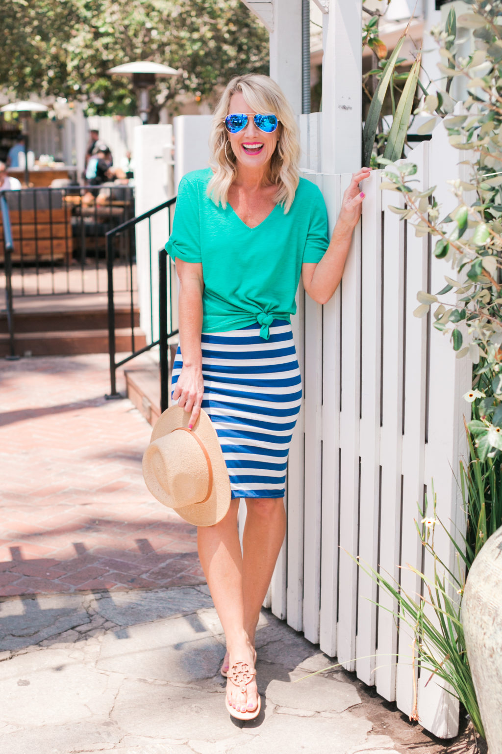 gibson hi sugarplum collection nordstrom anna maria short sleeve detail v neck tee in bold green and fornillo midi skirt in blue stripe