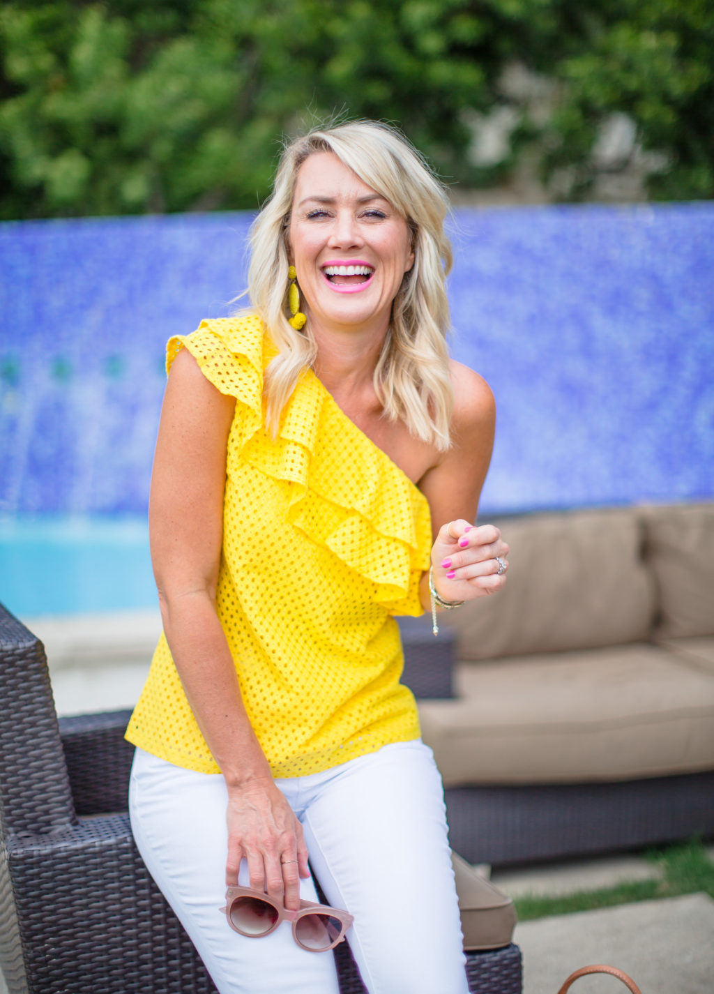 one shoulder ruffle top yellow