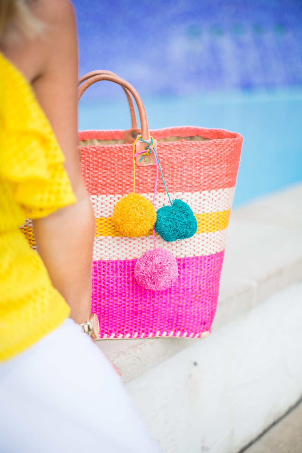 yellow pink mar y sol straw bag