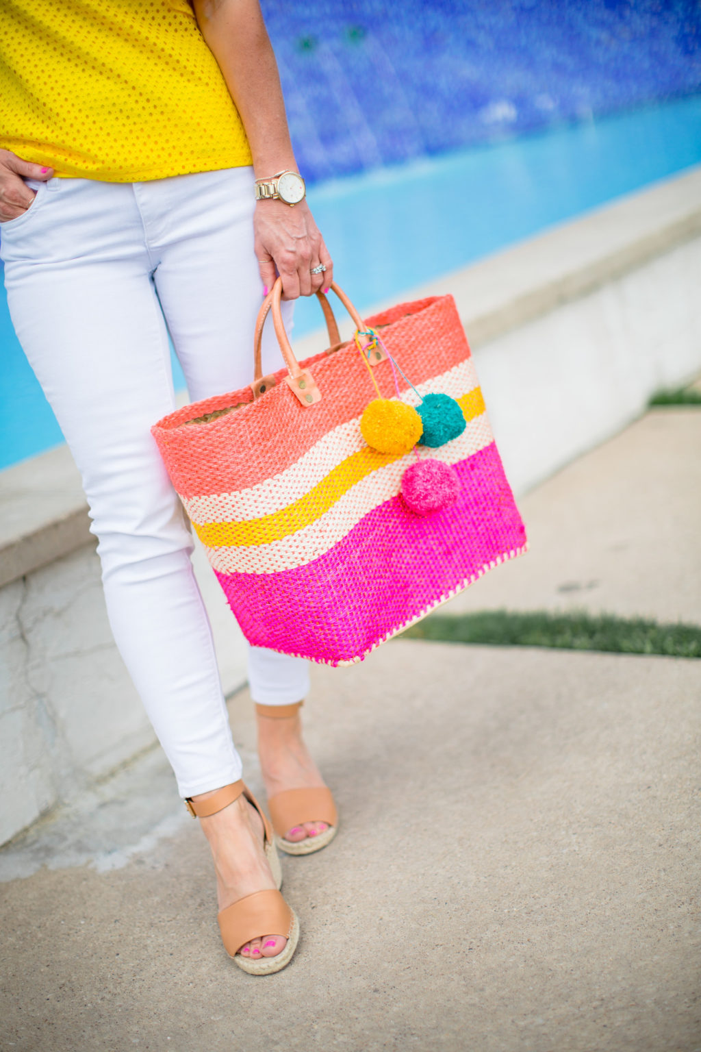 mar y sol pink stripe straw bag