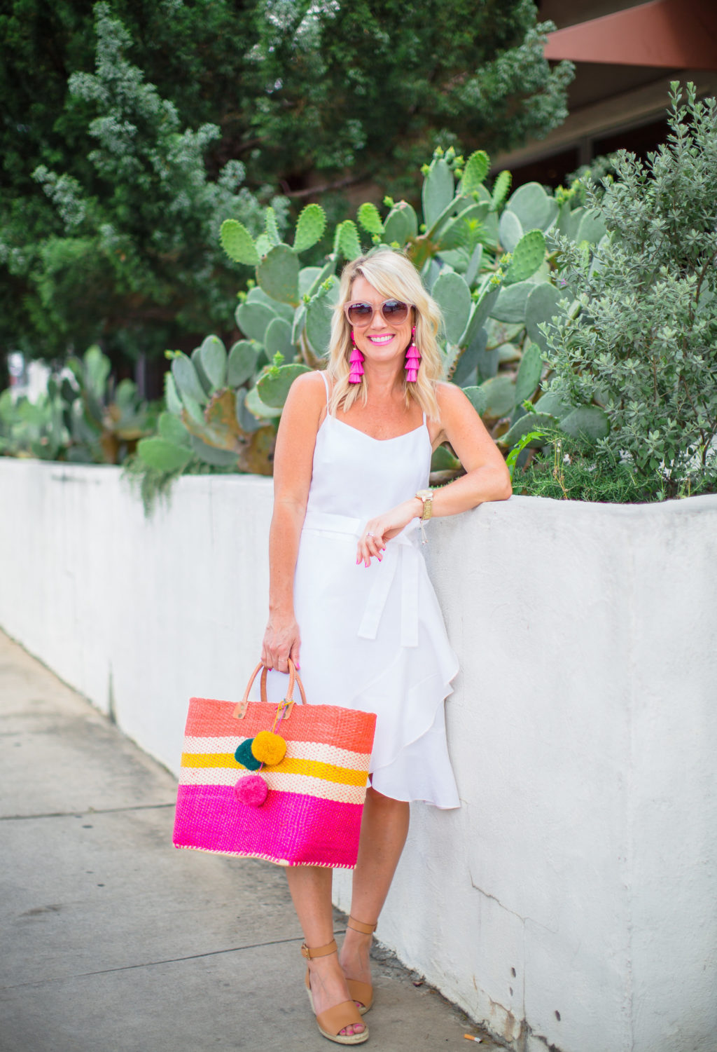 white linen ruffle wrap dress