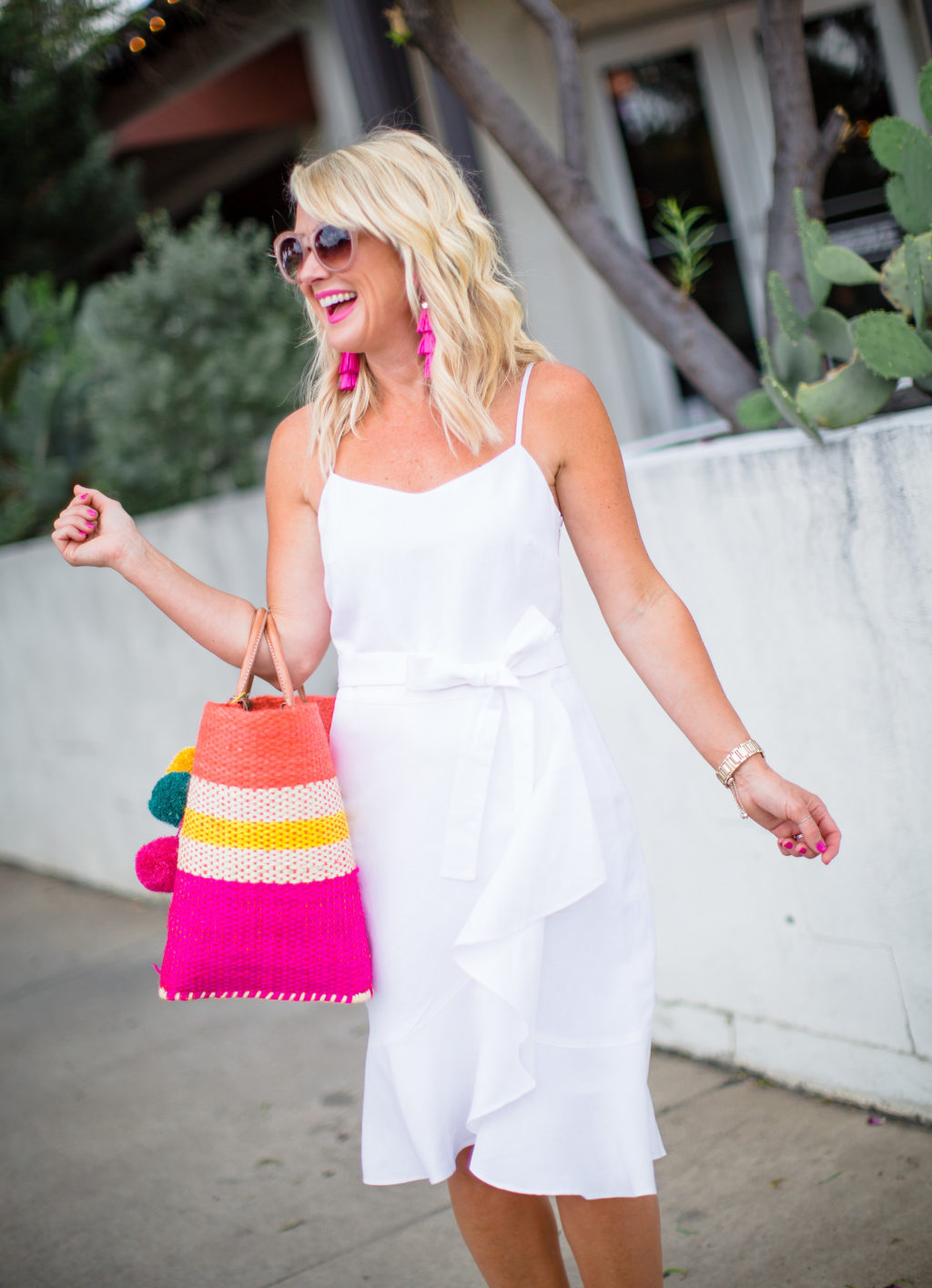 white linen wrap dress for summer