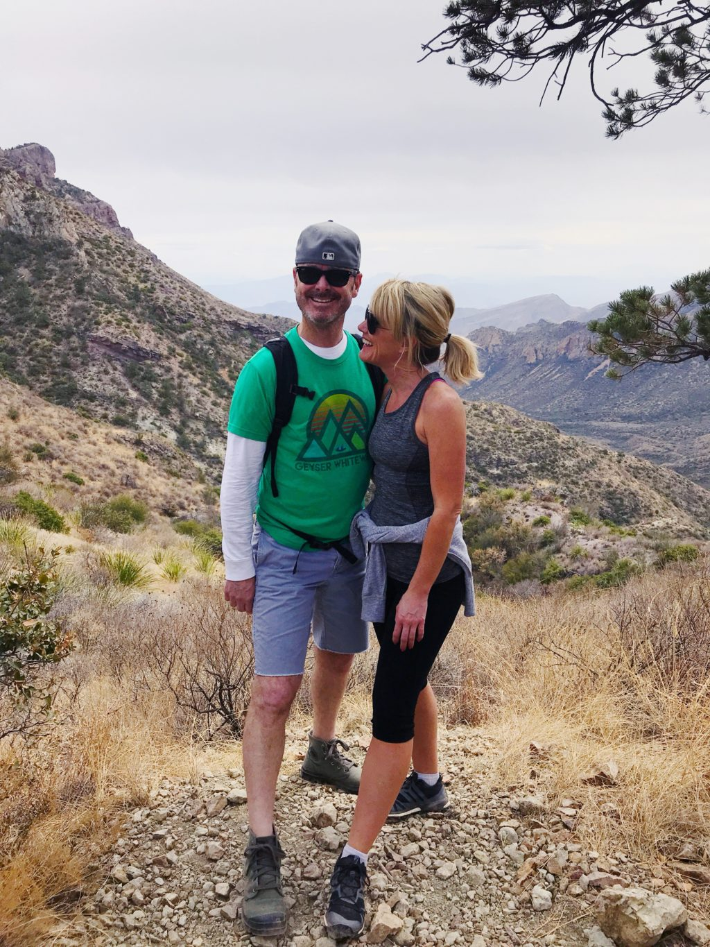 family hike through big bend national park texas